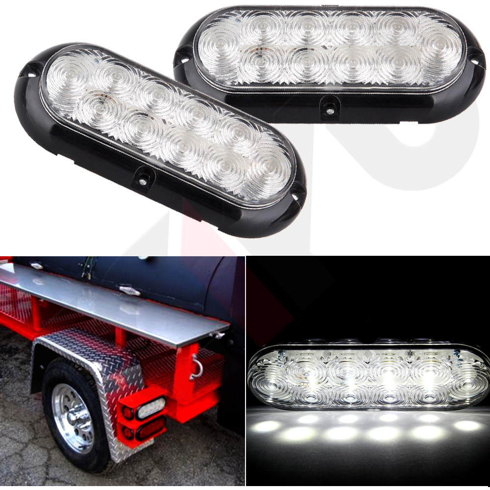 "2x 6"" Clear/White 10 Led Oval Truck Trailer Stop Turn ..."